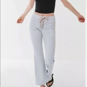 Urban Outfitters high rise lace up flare jeans
